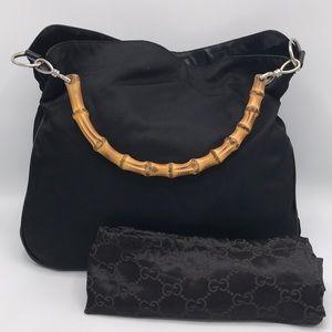 85c55aab9e0 Gucci · Authentic Gucci Bamboo Handle Black Nylon Tote Bag